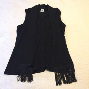 Cabi black blouse w faux scarf and fringe detail